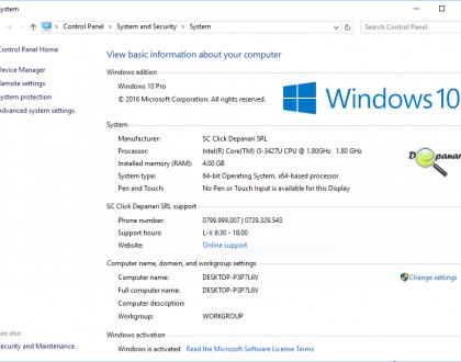 """Cum se pot personaliza informațiile producatorului din fereastra """"System"""" în Windows 10"""